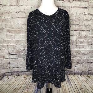 NYDJ Black Polka Dot Henley Blouse Size XL